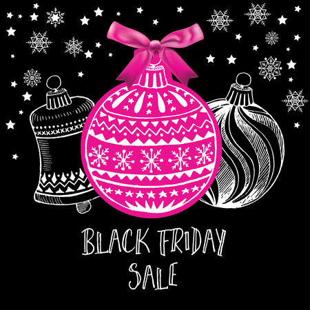 pink and black: Vector black friday poster. Holiday background and sale design banner. Vector template with shopping tag.