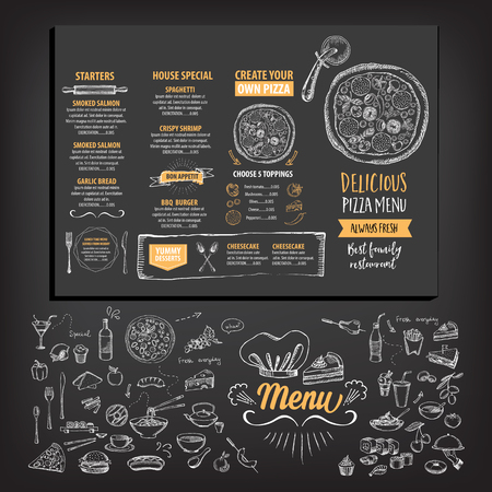 pizzas: Vector restaurant brochure, menu design. Vector cafe template with hand-drawn graphic. Food flyer. Illustration