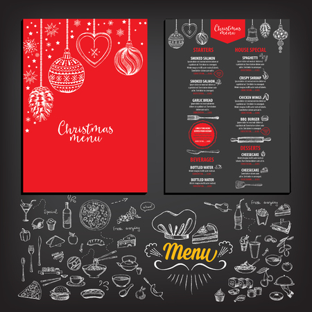 alimentos y bebidas: Restaurante folleto Navidad del vector, dise�o del men�. Vector plantilla de fiesta con navidad gr�fico dibujado a mano. Feliz volante invitaci�n A�o Nuevo.