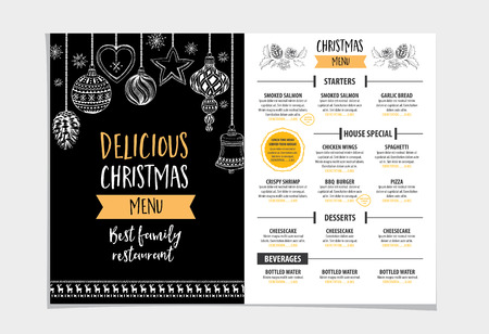 restaurant icon: Vector christmas restaurant brochure, menu design. Vector holiday template with xmas hand-drawn graphic. Happy New Year invitation flyer. Illustration
