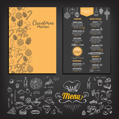creative ideas: Vector christmas restaurant brochure, menu design. Vector holiday template with xmas hand-drawn graphic. Happy New Year invitation flyer. Illustration