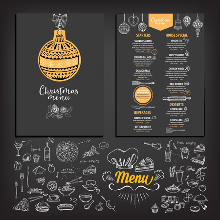 Vector christmas restaurant brochure, menu design. Vector holiday template with xmas hand-drawn graphic. Happy New Year invitation flyer. Stock Illustratie