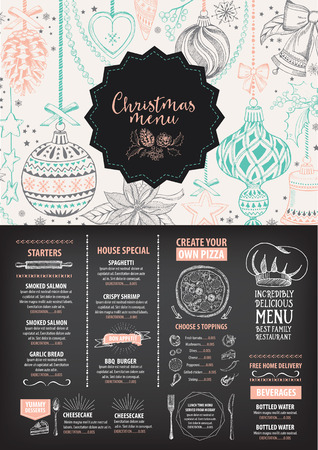food and drink holiday: Vector christmas restaurant brochure, menu design. Vector holiday template with xmas hand-drawn graphic. Happy New Year invitation flyer. Illustration