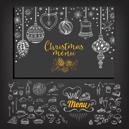 Restaurante folleto Navidad del vector, diseño del menú. Vector plantilla de fiesta con navidad gráfico dibujado a mano. Feliz volante invitación Año Nuevo. Foto de archivo - 47865360