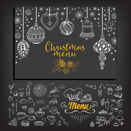 Vector christmas restaurant brochure, menu design. Vector holiday template with xmas hand-drawn graphic. Happy New Year invitation flyer. Çizim