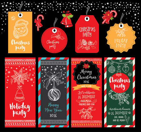 happy holidays card: Vector christmas party invitation with toys. Holiday background and design banner. Vector template with hand-drawn xmas graphic. Illustration