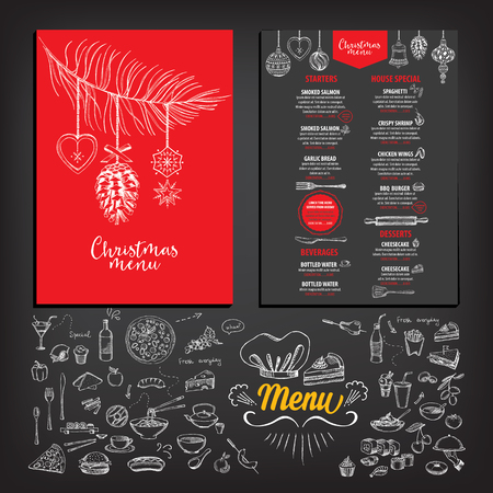 christmas winter: Vector christmas restaurant brochure, menu design. Vector holiday template with xmas hand-drawn graphic. Happy New Year invitation flyer. Illustration