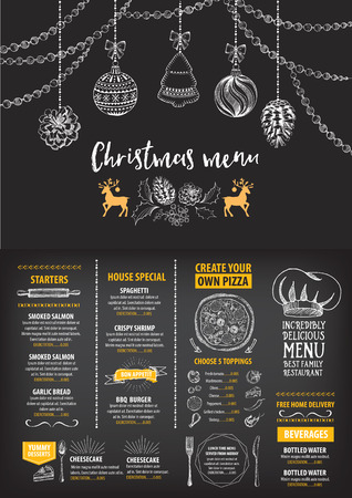 xmas: Vector christmas restaurant brochure, menu design. Vector holiday template with xmas hand-drawn graphic. Happy New Year invitation flyer. Illustration