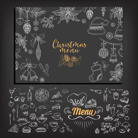 christmas menu: Vector christmas restaurant brochure, menu design. Vector holiday template with xmas hand-drawn graphic. Happy New Year invitation flyer. Illustration