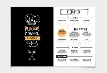 dinner menu: Vector restaurant brochure, menu design. Vector cafe template with hand-drawn graphic. Food flyer. Illustration