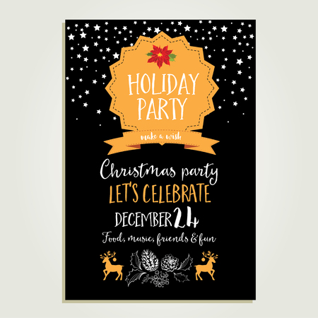 holiday invitation: Vector christmas party invitation with toys. Holiday background and design banner. Vector template with hand-drawn xmas graphic. Illustration