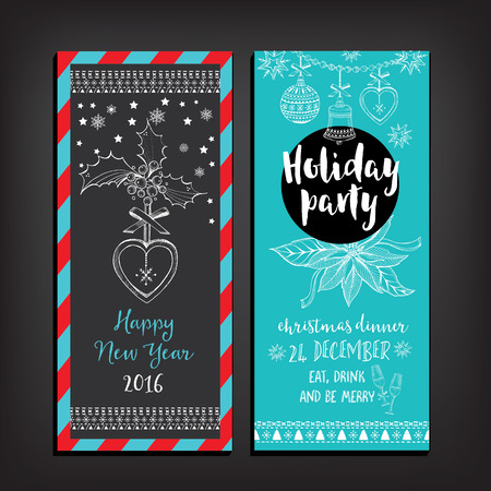 holiday background: Vector christmas party invitation with toys. Holiday background and design banner. Vector template with hand-drawn xmas graphic. Illustration