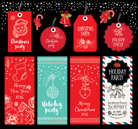 party invitation: Vector christmas party invitation with toys. Holiday background and design banner. Vector template with hand-drawn xmas graphic. Illustration