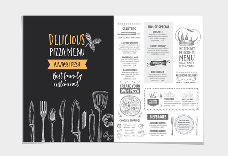 cafe: Vector restaurant brochure, menu design. Vector cafe template with hand-drawn graphic. Food flyer. Illustration