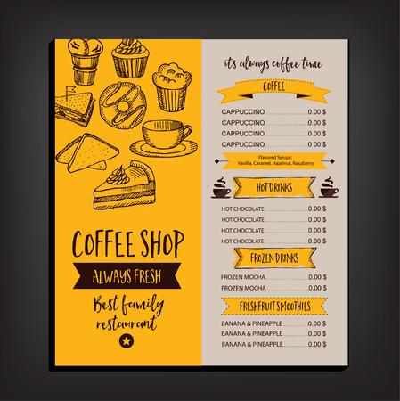 Vector restaurant brochure, menu design. Vector cafe template with hand-drawn graphic. Food flyer. Иллюстрация