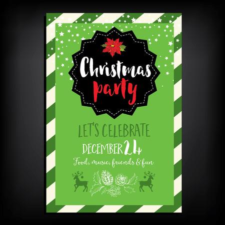 invitacion fiesta: Navidad del vector invitación de la fiesta con los juguetes. Vacaciones de fondo y la bandera de diseño. Modelo del vector con el gráfico de Navidad dibujado a mano.
