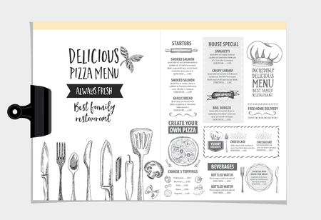 menu card design: Vector restaurant brochure, menu design. Vector cafe template with hand-drawn graphic. Food flyer. Illustration