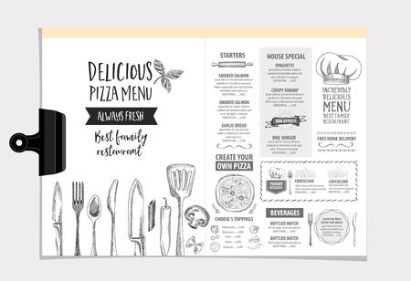 menu design: Vector restaurant brochure, menu design. Vector cafe template with hand-drawn graphic. Food flyer. Illustration