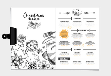 menu: Vector restaurant brochure, menu design. Vector cafe template with hand-drawn graphic. Food flyer. Illustration