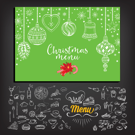 retro design: Vector christmas restaurant brochure, menu design. Vector holiday template with xmas hand-drawn graphic. Happy New Year invitation flyer. Illustration