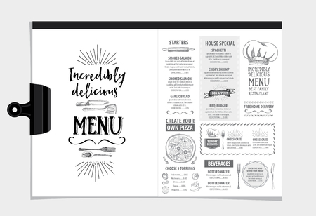 retro design: Vector restaurant brochure, menu design. Vector cafe template with hand-drawn graphic. Food flyer. Illustration