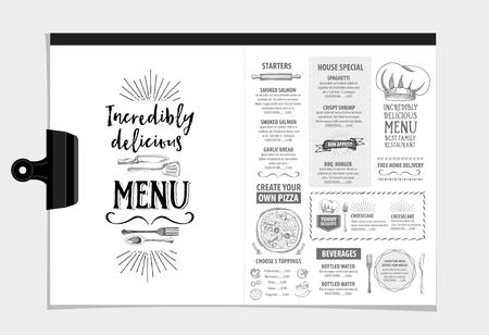 Vector restaurant brochure, menu ontwerp. Vector cafe template met de hand getekende grafische. Eten flyer. Stockfoto - 49357897