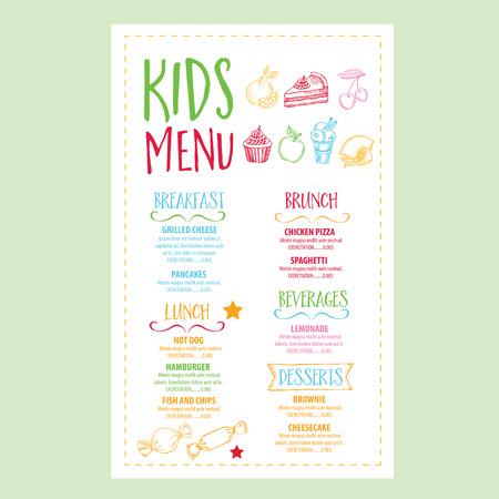 ベクトル レストラン パンフレット、キッズ メニュー デザイン。手描きのグラフィックを持つベクトル カフェ テンプレート。食品チラシ。