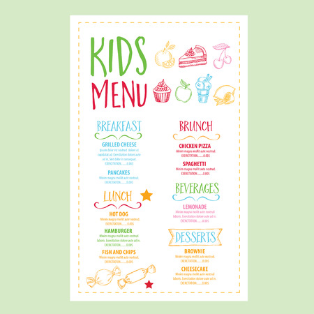 menu: Vector restaurant brochure, kids menu design. Vector cafe template with hand-drawn graphic. Food flyer.