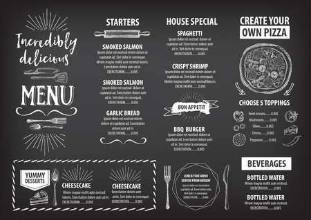 Vecteur restaurant de la brochure, la conception de menu. Vecteur café modèle avec graphique dessiné à la main. Dépliant alimentaire. Banque d'images - 49357900