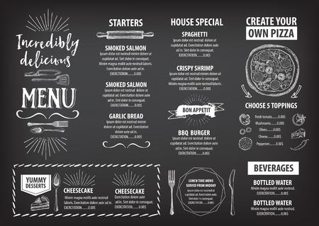 Vector restaurant brochure, menu design. Vector cafe template with hand-drawn graphic. Food flyer. Stock Illustratie