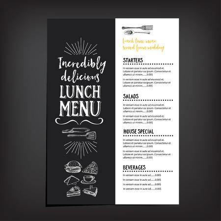 vintage menu: Vector restaurant brochure, menu design. Vector cafe template with hand-drawn graphic. Food flyer. Illustration