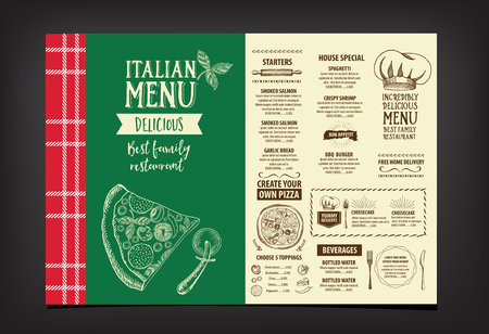 italian chef: Vector restaurant brochure, menu design. Vector cafe template with hand-drawn graphic. Food flyer. Illustration
