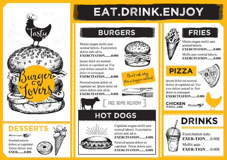 menu de postres: Restaurante folleto del vector, dise�o del men�.