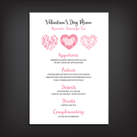 Vector valentine restaurant brochure, menu design.  Illustration