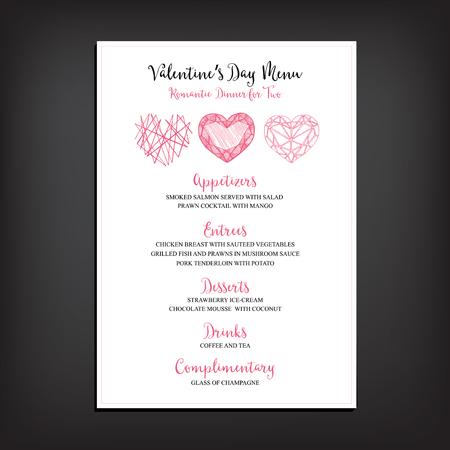 Vector valentine restaurant brochure, menu design.  Illustration