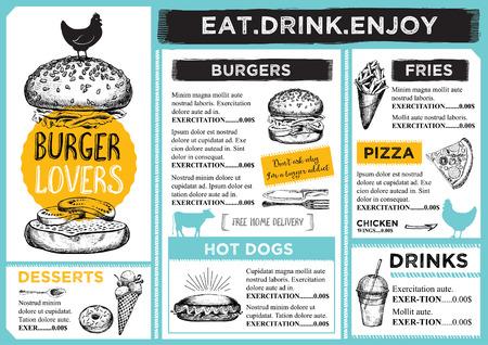 hotdog: Restaurant brochure vector, menu design.  Illustration