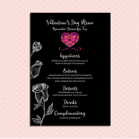 vintage cafe: Vector valentine restaurant brochure, menu design.  Illustration