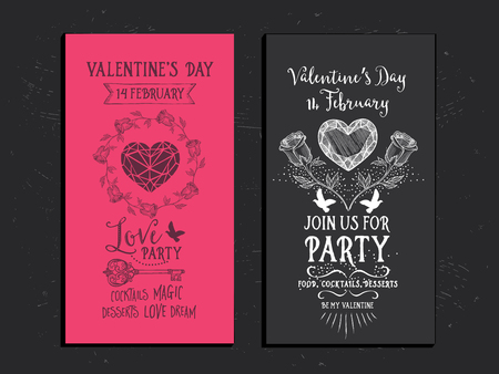 invitacion fiesta: Vector Valentines Day party invitation.