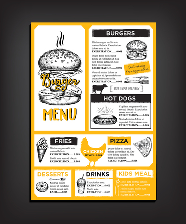 food illustrations: Restaurant brochure vector, menu design.