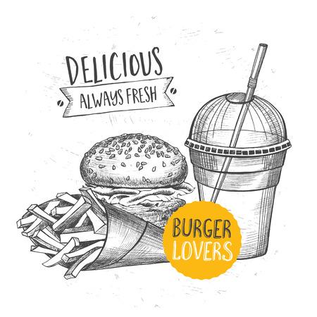 gourmet burger: Restaurant brochure, menu design. Illustration