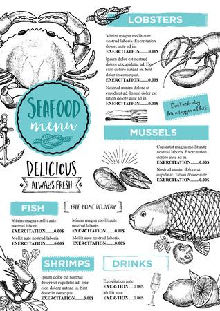 vintage drawing: Seafood restaurant brochure, menu design. Illustration