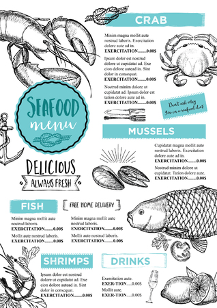 menu card design: Seafood restaurant brochure, menu design. Illustration