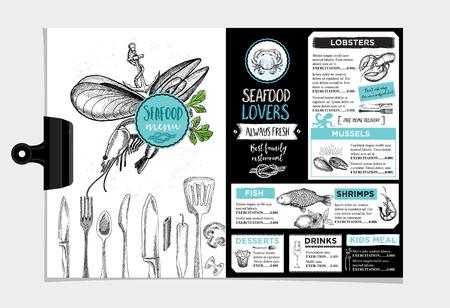 Seafood restaurant brochure, menu design.