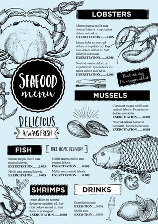 Mariscos folleto restaurante, diseño del menú.