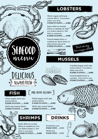 Seafood restaurant brochure, menu design.