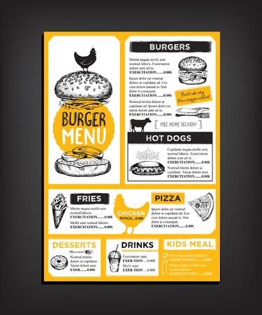 chicken sandwich: folleto del restaurante Vectores