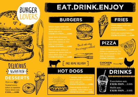 folleto del restaurante, diseño del menú. Ilustración de vector