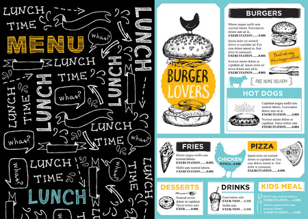 grill: Restaurant brochure, menu design. Illustration