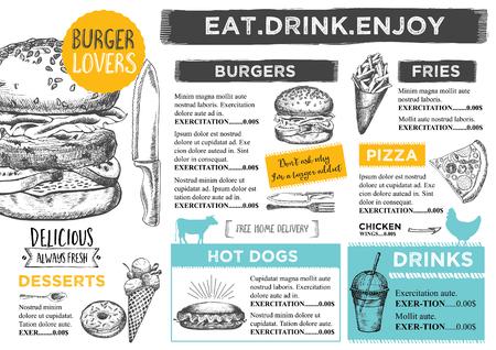 dessin: brochure des restaurants, conception de menu.