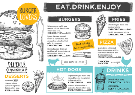 burger and fries: Restaurant brochure, menu design. Illustration